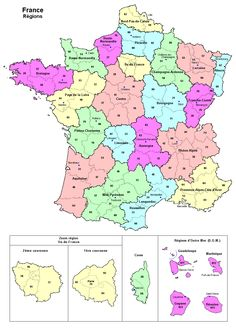 A good map to see all the administrative regions of France, including the overseas territories (which are often forgotten...bless em') #Maps #France