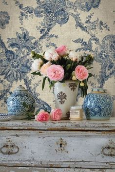 Blue-and-white with pink roses.