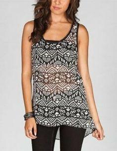 ebc93817ea5de2 Full Tilt Black White Ethnic Print Chiffon Hi Low Tank Top Cami Size 4 (S)  34% off retail