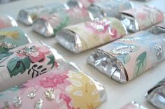 Cute/Cheap/Easy place seating extras, w/wallpaper or wrapping paper & craft glitter paint
