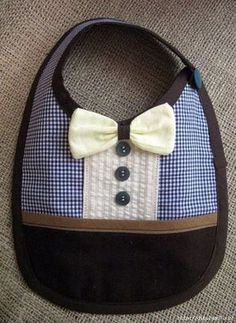 """Blue and brown baby boy bib """"Little gentleman"""" READY TO SHIP. via Etsy. How cute for Hudson at church! Sewing For Kids, Baby Sewing, Baby Kind, Baby Love, Couture Bb, Baby Boy Bibs, Diy Bebe, Brown Babies, Baby Patterns"""