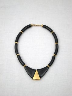 Vintage NAPIER Neo Deco Black & Gold Necklace by VintageALaMode