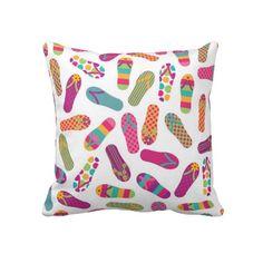 Colourful Flip Flops Decorative Throw Pillow