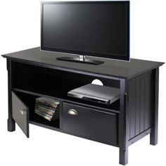 Black TV Stand 46 inch Wood Media Entertainment Theater Storage Home Office Deco