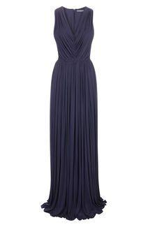 Navy Draped V-Neck Jersey Floor Length Dress// Alexander McQueen