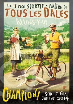 July 2014 sees the arrival in Yorkshire of a world renowned bicycle race so famous that we don't need to mention it by name. In honour of this momentous occasion we have created a commemorative print to celebrate the prowess of the sporting tyke, 'Master of all the Dales'. The image has been deliberately aged to give it a vintage look more suited to such a long running and prestigious event. Allons-Y-up!