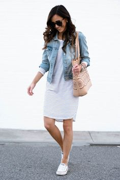 LONG-SLEEVE STRIPE DRESS + SPRING TOTE | Sequins and Things | Bloglovin'