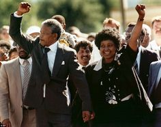 Historic: In this Feb. 11, 1990 file photo, Nelson Mandela, left, and his wife, Winnie, walk out of the Victor Verster prison in Paarl, near Cape Town, South Africa, after Mandela had spent 27 years in jail.