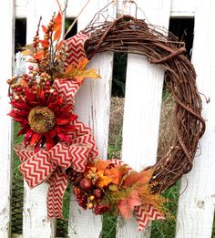 Fall Wreath Red Sunflower  Autumn Harvest Chevron by WreathUnique