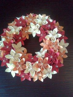 Origami kusudama paper wreath. Handmade. Autumn. #origami #kusudama #paper #wreath #handmade