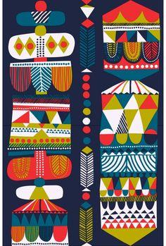 Colours - all about ME! (Toteemi-paksu puuvilla (t.sininen, petrooli, punainen) |Kankaat, Puuvillakankaat | Marimekko)