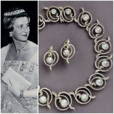 On the left: Princess Alexandra wearing the Pearl Circlet Tiara.  On the right: The Pearl Circlet Tiara, United Kingdom. c1890's with pearls and diamonds. This tiara originally belonged to Grand Duchess Elena Vladimirovna of Russia. Convertible to necklace and shown off frame with matching earrings.