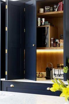 Kitchen Larder, Refacing Kitchen Cabinets, Modern Kitchen Cabinets, Kitchen Cabinet Doors, Wooden Cabinets, Kitchen Cabinet Design, Kitchen Modern, Navy Cabinets, Larder Unit