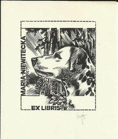 EXLIBRIS BOOKPLATE 1960s POLAND DOG DALMATIAN SIGNED 8X6CM