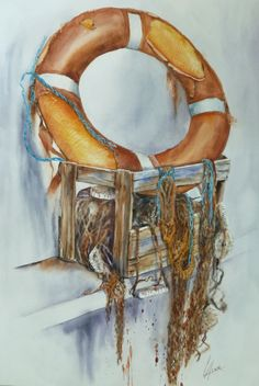 bouée bretonne- aquarelle  Anne Larose