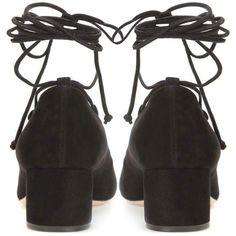 Miu Miu Suede Lace-Up Pumps ($715) ❤ liked on Polyvore featuring shoes, pumps, black pumps, miu miu, suede leather shoes, black lace up pumps and kohl shoes