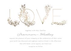 """Love Floral Sketch"" - Whimsical & Funny Foil-pressed Wedding Invitations in Gold by Phrosne Ras."