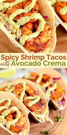Shrimp Recipes Easy, Fish Recipes, Seafood Recipes, Mexican Food Recipes, Cooking Recipes, Healthy Recipes, Shrimp Dinner Recipes, Mexican Menu, Mexican Tacos