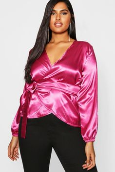 707df6f3b1d Click here to find out about the Plus Satin Wrap Tie Top from Boohoo
