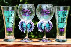 SET OF 4 Mother and Father of the Bride Groom Personalized Bridesmaid Wedding Bridal Shower Date Groomsman Bachelorette Glass Set. $95.00, via Etsy.