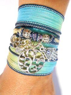 $29.95 Tree Of Life Om Silk Wrap Bracelet Hamsa Yoga Bracelet Bohemian Jewelry Wrapped Bracelet Zen Jewelry Birthday Unique Gift For Her Under 30
