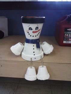 Snow man pot people by crazycraftingfriends on Etsy