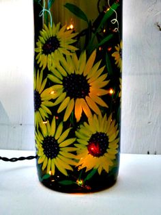 Wine Bottle Light  Night Light Large Recycled Green Bottle Hand Painted Sunflowers