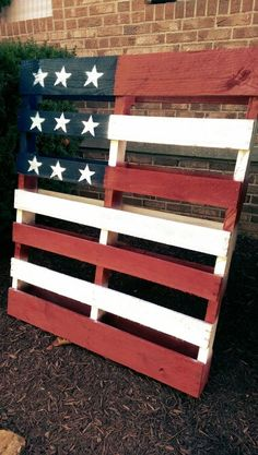 D.I.Y Pallet Flag.   Made this bad boy for about $15 a couple weeks after not being able to come to grips that I almost paid $45 for one just before the 4th of July. Its been outside for a few months now and looks just like the day I made it. As it should at $5 a can of paint. I used a paint and primer mix spray paint.  *Tip. Try not to use the traditional red white and blue. Try an egg shell white  and a deeper red and flatter blue.