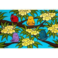 Bird Ohana - Painting of happy little birds enjoying the smell of the plumeria tree by Heather Brown Bird Artwork, Cool Artwork, Canvas Artwork, Canvas Art Prints, Fine Art Prints, Bird Canvas, Hanging Canvas, Canvas Frame, Wall Canvas