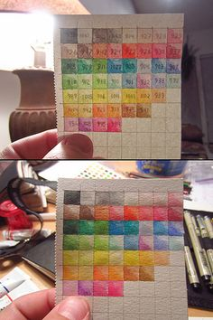 I wanted an easy way to find which watercolor pencil would work best, so I created this flashcard. Held up to the light (top photo), the card reveals the Prismacolor pencil number, which I wrote backwards on the back of the heavy stock Moleskine sketchbook paper. The numbers aren't visible without a light source behind the card (bottom).