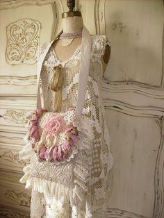 Vintage lace and floral over the shoulder handbag
