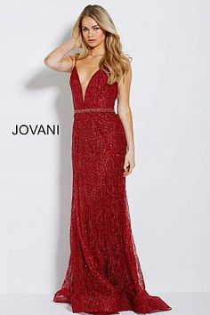 Burgundy Embellished Plunging V Neck Prom Dress 56050  #LowVNeckDress #PlungingDress #Prom #Jovani