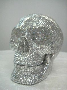 Swarovski Crystal Encrusted Skull  Tabletop by bellinibyformart, $999.00