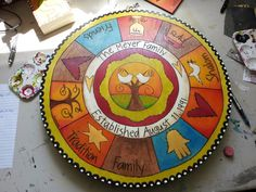 Painted Wood Burned Lazy Susan with Jewish by SouthernHeartStudio