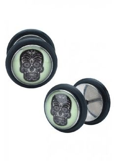 Body Vibe Glow In The Dark Skull Fake Plugs - Size: One The Glow In The Dark Skull Fake Plugs by Body Vibe are a pair of eye-catching faux flesh tunnels which can even be seen when its pitch black! They feature a Day of the Dead candy skull design and are  http://www.MightGet.com/february-2017-3/body-vibe-glow-in-the-dark-skull-fake-plugs--size-one.asp