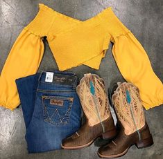 Off Shoulder Long Sleeve Smocking Top ( Mustard ) - Cowgirl style outfits - Cute Cowgirl Outfits, Country Style Outfits, Southern Outfits, Country Wear, Country Fashion, Cute Outfits, Summer Country Outfits, Western Outfits Women, Cowboy Boot Outfits