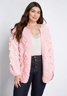Take your casual looks to the next sensory level by donning this pink cardigan from our ModCloth label. A soft knit piece with an open front design, this vintage-inspired sweater features an all-over puffy diamond texture that gives your ensemble geometri Fall Sweaters, Vintage Sweaters, Sweaters For Women, Pink Cardigan, Cotton Cardigan, Free People Clothing, Women's Clothing, Plus Size Cardigans, Sweater Outfits