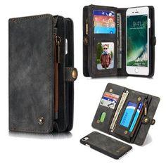 CaseMe iPhone 8 Detachable Multi-slot Zipper Wallet Case Black