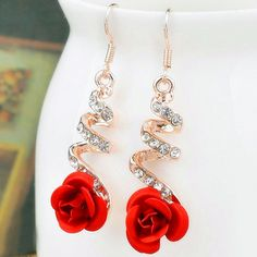 E0373 Vintage Red Rose Drop Earrings For Women Rose Gold Color Statement  Dangle Earrings With Crystal a866b6bb69bc