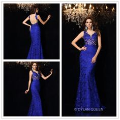 Elegant blue lace straps & backless  evening dress #dylanqueen