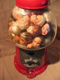 Barbie heads in a gumball machine. Works From The Annual Altered Barbie Exhibit Bad Barbie, Barbie Dolls, Gumball Machine, Wow Art, Weird Art, Strange Art, Creepy Dolls, Doll Parts, Partys