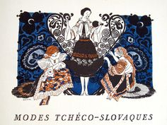 Slovak costume as illustrated in the Gazette du Bon Ton, The blue pattern evokes Modrotlac, traditional Slovak resist printing. (Collection of the Kent State University Museum) Textile Prints, Textile Design, Black Forest, Embroidery Patterns, Art Decor, Illustration Art, State University, Costumes, History