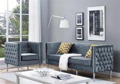 Bryn Modern White Grey Bonded Leather Velvet Living Room Set