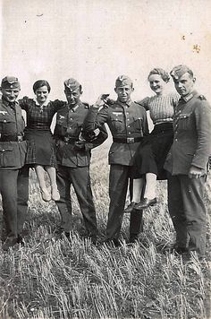 German soldiers with girls.