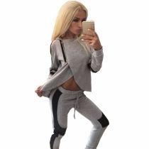 Women Casual Tracksuit Split Hoodies Hooded Tops + Pants Suit 2 Pcs