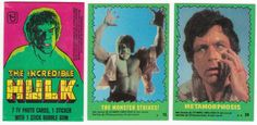 1979 Topps The Incredible Hulk Trading Cards and Wrapper: Complete set of 88 trading cards and one wax pack wrapper folded down to card size for insertion into plastic sheet pages, cards average Ex/M-, loaded with shots from the TV series featuring Bill Bixby and Lou Ferrigno. $15