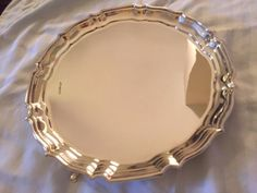 An elegant, Art Deco sterling silver British salver or footed tray, made in Sheffield in 1933 by Fred Johnson & Sons