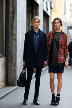 ladies... s'up. #SigridAgren & #JacquelynJablonski cruising in Milan. #offduty