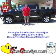 Christopher is heading home in a slightly used 2019 Ram 1500, now that is riding in style! Congratulations! 🎉#wow #wowwoodys #woodysautomotive #cars #trucks #suvs #carsforsale #trucksforsale #suvsforsale #kansascity #chillicothe #customerreviews #customertestimonials #wowcarbuying #carshopping #happycustomers  #2019ram1500 #2019ram #ram1500 #ram #1500