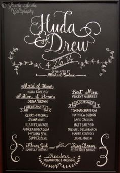 Custom hand-lettered Chalkboard Wedding Program